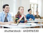 happy learners listening to... | Shutterstock . vector #643496530