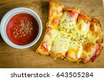 pizza toast with ham cheese and ... | Shutterstock . vector #643505284