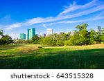 city public park green grass... | Shutterstock . vector #643515328