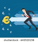 businessman running to euro... | Shutterstock .eps vector #643520158
