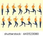 running man for animation 14...   Shutterstock .eps vector #643523080