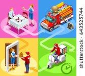 take away fast food truck van... | Shutterstock .eps vector #643525744