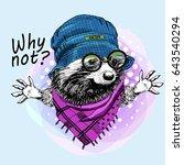 vector raccoon with hat and... | Shutterstock .eps vector #643540294