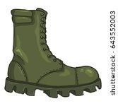 Vector Cartoon Khaki Army Boot...