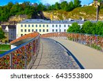 the bridge fence covered with... | Shutterstock . vector #643553800