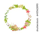 wreath with succulents and... | Shutterstock .eps vector #643562890