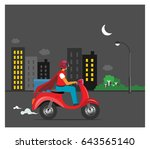 food delivery at night delivery ... | Shutterstock .eps vector #643565140