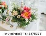 on the festive table in the... | Shutterstock . vector #643575316