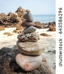 stone stack on the beach  | Shutterstock . vector #643586296