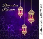 ramadan greeting card on violet ... | Shutterstock . vector #643591540
