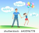 happy daughter with her father. ... | Shutterstock .eps vector #643596778