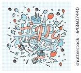 happy birthday typography... | Shutterstock .eps vector #643607440