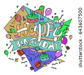 happy birthday typography... | Shutterstock .eps vector #643607500