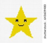 pixel star icon. 8 bit pixel... | Shutterstock .eps vector #643609480