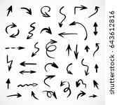hand drawn arrows  vector set | Shutterstock .eps vector #643612816