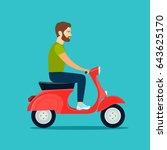 man with beard riding retro... | Shutterstock .eps vector #643625170