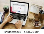 technology concept on a device... | Shutterstock . vector #643629184