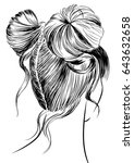 two buns hairstyle | Shutterstock .eps vector #643632658