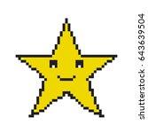 pixel star icon. 8 bit pixel... | Shutterstock .eps vector #643639504