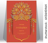 invitation card templates with... | Shutterstock .eps vector #643640464
