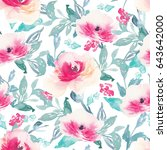repeating watercolor flower... | Shutterstock . vector #643642000