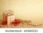 Christmas Gift Box On Yellow...