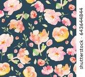 cute tropical flower pattern... | Shutterstock . vector #643644844
