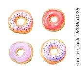 watercolor hand painted sweet... | Shutterstock . vector #643651039