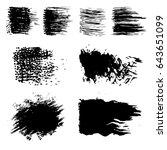vector set of black brush... | Shutterstock .eps vector #643651099