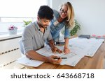 business people and architects... | Shutterstock . vector #643668718