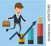 businessman in suit on arrow... | Shutterstock .eps vector #643675180