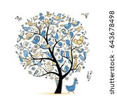 tree with birds  sketch for... | Shutterstock .eps vector #643678498