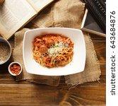 linguine meatballs on wooden... | Shutterstock . vector #643684876