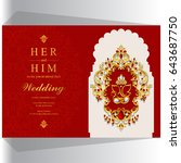 invitation card template with... | Shutterstock .eps vector #643687750