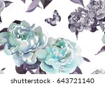 hand painting 2 turquoise... | Shutterstock . vector #643721140