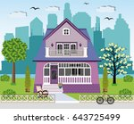 cute bright private house... | Shutterstock .eps vector #643725499