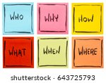 who   why  how   what  when and ... | Shutterstock . vector #643725793