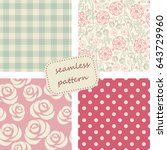 set of 4 vintage seamless... | Shutterstock .eps vector #643729960