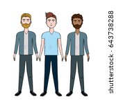 cute men with hairstyle and... | Shutterstock .eps vector #643738288