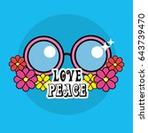 cute hippie glasses with... | Shutterstock .eps vector #643739470