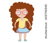 pretty girl with glasses and... | Shutterstock .eps vector #643740340
