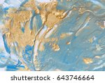 blue and gold liquid texture.... | Shutterstock . vector #643746664