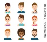 smiling people set  | Shutterstock .eps vector #643784140