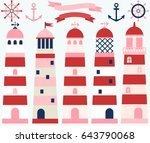girl nautical set with... | Shutterstock .eps vector #643790068