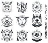 heraldic designs  vector... | Shutterstock .eps vector #643792849