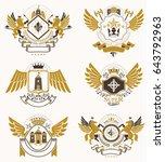collection of vector heraldic... | Shutterstock .eps vector #643792963