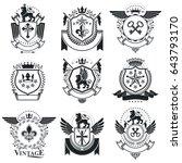 heraldic designs  vector... | Shutterstock .eps vector #643793170