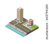megapolis 3d isometric three... | Shutterstock . vector #643794184