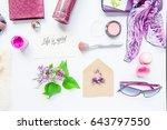 beauty blog concept. lilac... | Shutterstock . vector #643797550