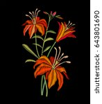 embroidery lily flowers on... | Shutterstock .eps vector #643801690